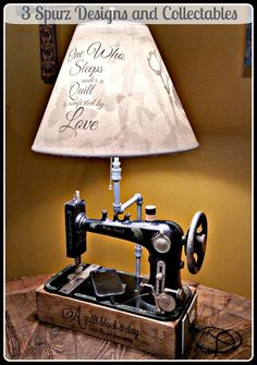 Art Deco Sewing Machine turned into Lamp with USB charger outlet   Please click  Here   for more information on a ordering a custom shade. ...