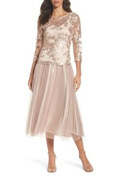 febf35cb2 Alex Evenings Embroidered Bodice Tea-Length Dress Mother Of The Bride  Suits, Mother Of