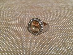 Amber Swarovski Rivoli Gem Ring size 7.5 by EmpyreanByDamaris, $32.00
