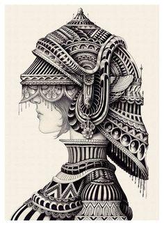 MacArthur Iain - Check that epic illustration - 2018 Doodle Art Drawing, Illustration Art Drawing, Mandala Drawing, Mandala Doodle, Ink Pen Drawings, Art Drawings Sketches, Tigre Mandala, Mandala Art Lesson, Surreal Artwork