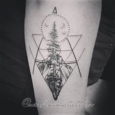 sacred geometry, geometric tattoo, dot work tattoo, crystal tattoo, tree tattoo By Kya Dubois Sink N Ink Tattoos