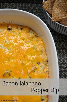Bacon Jalapeno Popper Dip | Real Housemoms | #appetizer #jalapeno