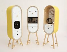 These micro kitchen units would be fun for the office kitchen or perhaps in your cubicle! Micro Kitchen, Cute Kitchen, Mob Kitchen, Compact Kitchen, Kitchen Ideas, Küchen Design, House Design, Kids Furniture, Home Organization