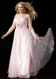 2015 Sweetheart Ruched Floor Length Chiffon Pink Flower Sleeveless Homecoming / Plus Size Dresses Alyce 535418