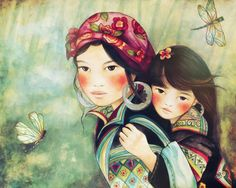 Mother and daughter from vietnam Hmong by PrintIllustrations, $22.00