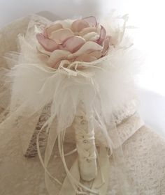 Single Flower Brooch Bouquet Bridesmaids Flower by theraggedyrose