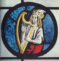 King David playing the harp,  stained glass, 15th century,   formerly in the choir of the collegiate at Tubingen but now in the Wurtemburg museum at Stuttgart.