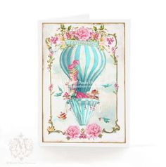 Marie Antoinette greeting card hot air balloon by mulberrymuse