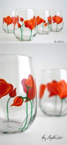 Now you can finally bring the bright flowers of spring inside for the whole winter with these gorgeous hand painted stemless wine glasses | Made on Hatch.co by independent artists