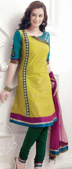 Florescent Green and Bottle Green A-line Cotton Churidar Kameez With Dupatta    Itemcode: KGF3245         Price: US$ 102.50        Click here: http://www.utsavfashion.com/store/sarees-large.aspx?icode=kgf3245