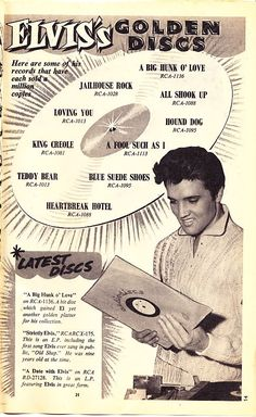 Elvis Presley Golden Discs: records that have each sold a million copies (and more) until 1959 | The cropped photo of Elvis is from behind the scenes of Jailhouse Rock, 1957. Jennifer Holden (aka Sheree Wilson) was airbrushed out. Take a look at: http://elviswomen.greggers.net/images/jhep05.jpg