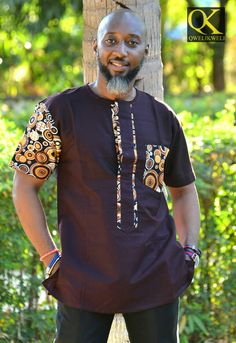 Shirt exlusive design by Qkweli made in Tanzania African Wear Styles For Men, African Shirts For Men, African Attire For Men, African Clothing For Men, African Shirts Designs, Couples African Outfits, African Dresses Men, Nigerian Men Fashion, African Print Fashion