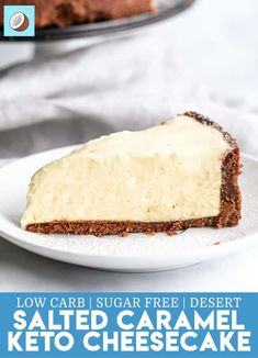 This keto salted caramel cheesecake is voted recipe of the week and I cant stop eating it. can someone please come rescue me? Im in a keto cheesecake coma. Salted Caramel Cheesecake, Low Carb Cheesecake, Cheesecake Recipes, Dessert Recipes, Desserts Caramel, Keto Friendly Desserts, Low Carb Desserts, Low Carb Recipes, Paleo Recipes