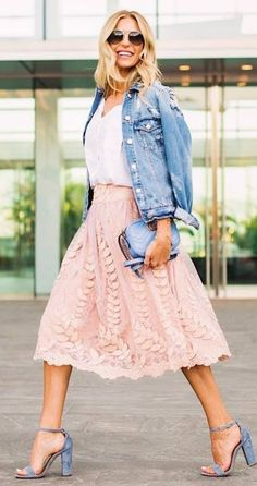 beautiful outfit idea heels + denim jacket + bag + pink skirt + top