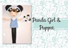 Muñeca en traje de oso Panda con su mascota, osa Panda, juguete de fieltro, peluche de Panda, peluchede osa Panda by loiseaubleu