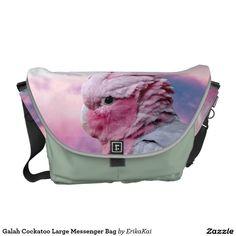 Pink Birds Galah Cockatoo Large Rickshaw Messenger Bag. Water resistant, extra durable. Interior and binding 20 color options.