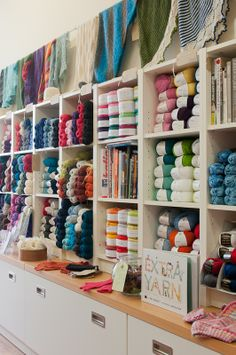 The Constant Knitter yarnshop, Dublin. My mother bought me some yarn from this shop when she was in Dublin and had so many nice things to say about the shop. Wool Shop, Yarn Shop, Yarn Display, Craft Storage Cabinets, Crochet Organizer, Knitting Room, Yarn Organization, Yarn Storage, Yarn Bombing