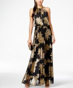 Get Greek-goddess gorgeous in this eye-catching pleated maxi dress from Msk, complete with a glamorous hardware-detail neckline and a gold foil print. | Polyester woven with metallic fibers: lining; p