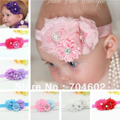 New Europe And America Style Shabby Burrs Chiffon Lace Ribbon Clustered Flowers With Rhinestone Kids Headbands 10sets/lot FD181 #Affiliate