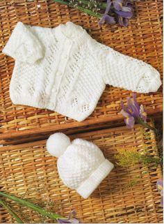 baby cardigan knitting pattern bobble hat lacy jacket by Minihobo