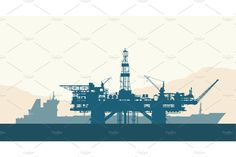Offshore oil drilling rig and tanker - Illustrations - 1