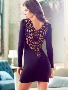Lace Back Long-Sleeve Dress... still love backless.. long sleeve is awesome for fall with some high boots