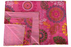 Pink Kantha Quilt Throw Gudari Ralli Cotton Hand Stitched Reversible Bedspread #Handmade