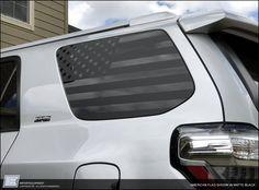 Toyota American Flag Side Window Decal - Fits 2010 - 2017 Gen——matte black in color Volkswagen Type 3, Volkswagen Phaeton, Volkswagen Golf, Large American Flag, American Flag Decal, Koenigsegg, Aston Martin, 4runner Accessories, Truck Accessories