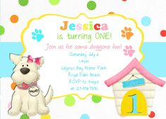 Puppy Dog Girl Birthday Invitation Printable Custom by 3PeasPrints, $18.00