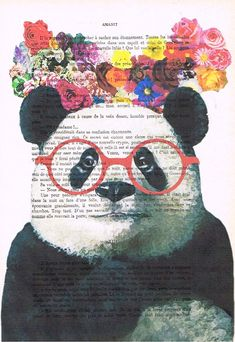 Panda with flowers Drawing Illustration Digital Print Mixed Media  Art Poster Acrylic Painting Holiday Decor Drawing Gifts