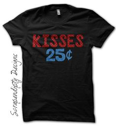 Kisses 25 Cents Shirt - Valentines Day Gift / Kids Boys Valentines Shirt / Toddler Boys Customized Clothes / Valentines Day Outfit / Tshirt by Scrapendipitees