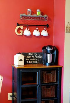 Coffee Bar. Love the idea of having the all coffee stuff in its own designated little spot.