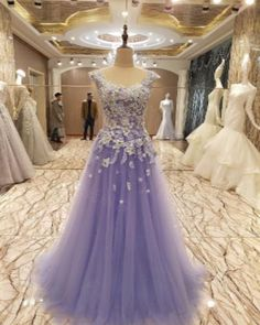 AHP01121 New Arrival Purple Tulle Sexy Appliques Train Prom Dresses 2017