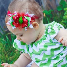 Christmas Cheer Combo Bow Baby Petite Headband by KinleyKate