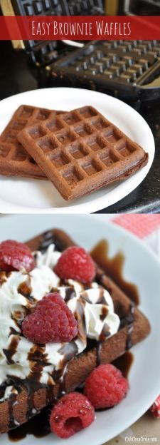 How to make brownie waffles that are so easy and yummy - start with your favorite chocolate brownie mix and add an extra egg. then cook in waffle iron. Top with whipped cream, chocolate sauce, and fresh berries for a yummy #dessert idea! #recipe
