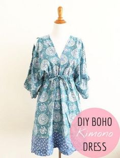 sewing pattern - Boho Kimono Dress Pattern Free sewing pattern and tutorial - A Free People inspired kimono dress!Free sewing pattern and tutorial - A Free People inspired kimono dress! Sewing Patterns Free, Free Sewing, Clothing Patterns, Dress Patterns, Pattern Sewing, Easy Dress Pattern, Clothing Ideas, Kimono Sewing Pattern, Fabric Patterns
