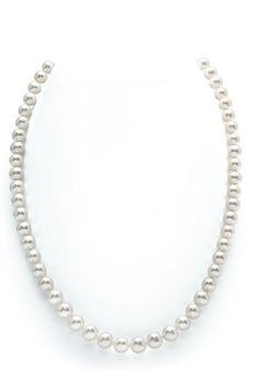 7-8mm White Freshwater Round Cultured Pearl Necklace, 17 Inch Princess Length - AAA Quality -- Hurry! Check out this great item : jewellery