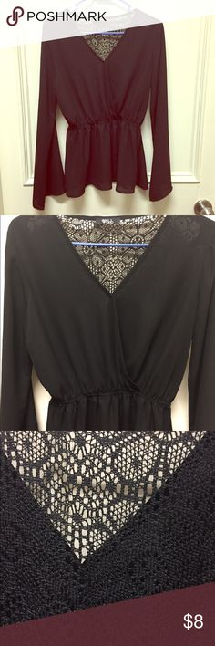 Black Flowy Peplum Blouse NWOT never worn (too big for me) flowy Peplum Blouse, lace back and V neck. No flaws. Is a M but could fit a S. Tops Blouses