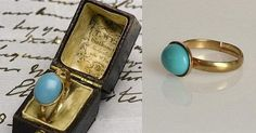 This beautiful ring is a replica of Jane Austens famous turquoise and gold ring that was sold through Sothebys auction house for $235,700. Now you can own your own little piece of history for a fraction of the cost! The last picture shows the actual ring that belonged to Jane Austen in a brown box. My ring does not come in that box, that is the box the original ring was in. My ring features- * a 10x8 glass turquoise stone that is a beautiful sleeping beauty turquoise color * a gold plated…