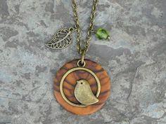 Houten ketting - Ketting olijfhout vogel blad brons groen - Een uniek product van Alentejoazul op DaWanda