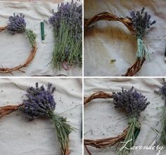 How to Make Lavender Wreath - Tutorial Lavender Crafts, Lavender Wreath, Lavender Tea, Dyi Decorations, Seashell Wreath, Growing Lavender, Beautiful Flower Arrangements, Wreath Forms, Wreath Tutorial