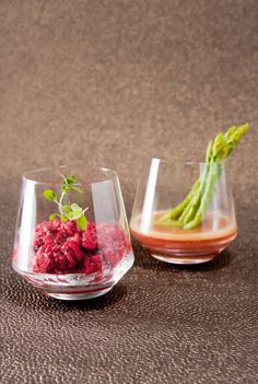 Beetroot Risotto with Buttered Asparagus Spears in Rosé Wine & Marjoram Jus