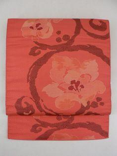 Scarlet Nagoya Obi, Abstruct Tang Flower Weaved Pattern / 紅緋色地 織りの抽象的花唐草柄 六通八寸名古屋帯  【リサイクル着物・アンティーク着物・帯の専門店 あい山本屋】#Kimono #Japan