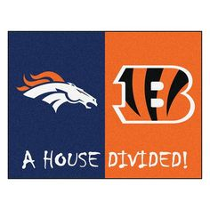 And the rivalry goes on keeping the house divided. Get ready for the biggest game of the year with the Denver Broncos vs Cincinnati Bengals house divided area rug. Both durable and attractive the house divided rug features a nylon face carpet wit. Nfl Denver Broncos, Cincinnati Bengals, Nfl Football, Broncos Gear, Broncos Logo, Nylon Carpet, House Divided, Custom Flags
