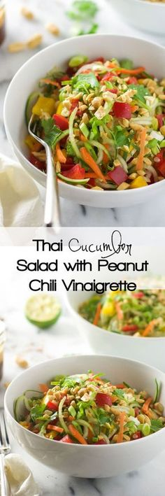 Thai Cucumber Salad with Peanut Chili Vinaigrette ~ is a light and flavorful salad with a sweet and spicy dressing and loaded with vegetables!