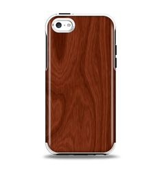 The Red Mahogany Wood Apple iPhone 5c Otterbox Symmetry Case Skin Set