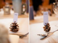 Pine Cone Place Card Holders  A Rustic Winter Barn Wedding