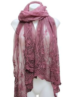 Soft Victorian Styled Silk & Lace Scarf A favorite Terra Nomad Fashion! This…