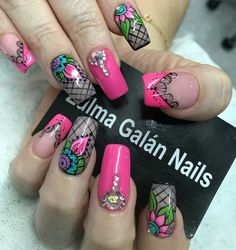 Stiletto Nail Art, Toe Nails, Cute Nail Art, Great Nails, Fingernails Painted, Chic Nails, Diamond Nails, Fancy Nails, Accent Nails