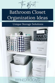 """Need bathroom medicine cabinet organization ideas? I've got 'em! Check out our dramatic """"medicine cabinet"""" bathroom closet makeover, featuring some awesome medicine cabinet storage containers, labeled storage bins and pretty baskets for organizing. Also get tips to declutter the medicine cabinet and learn how to dispose of expired medication."""